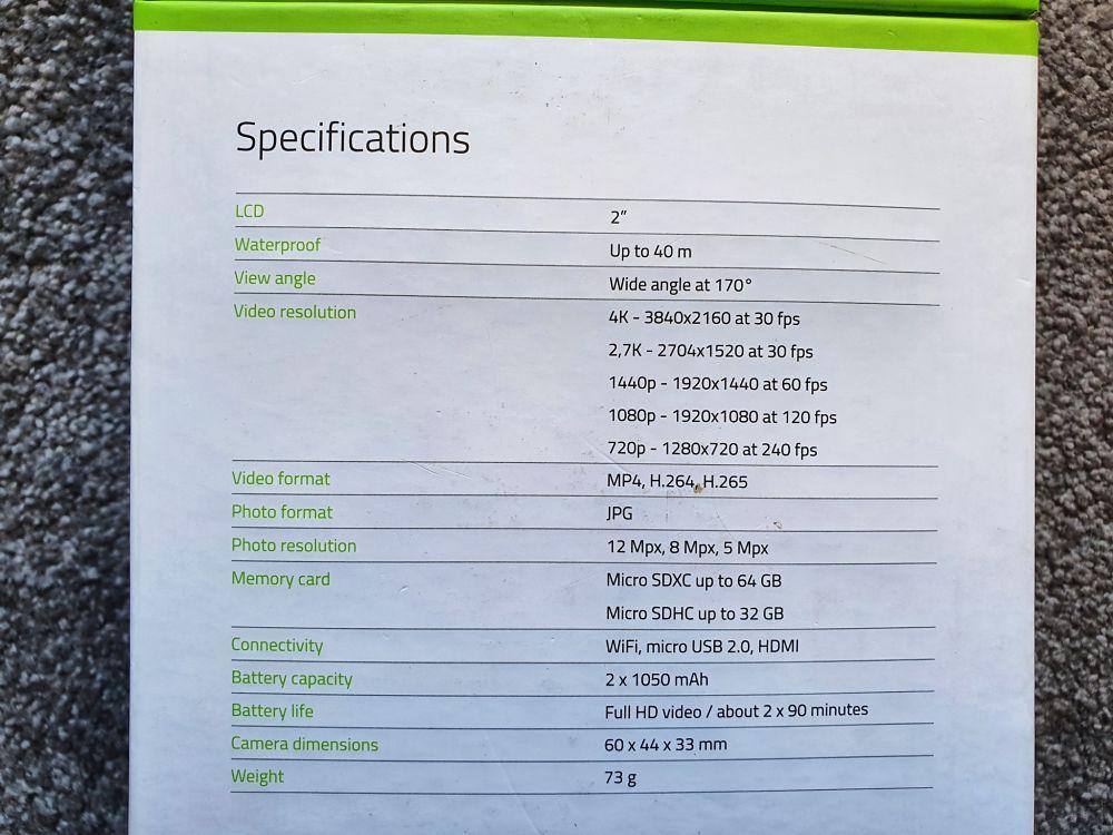 Akční kamera Lamax X10.1 - specifikace